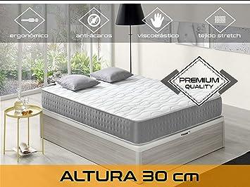 Dormi Premium Elixir 30 - Colchón Viscoelástico, 135 x 190 x 30 cm, Algodón/Poliuretano, Blanco/Gris, Matrimonio: Amazon.es: Hogar