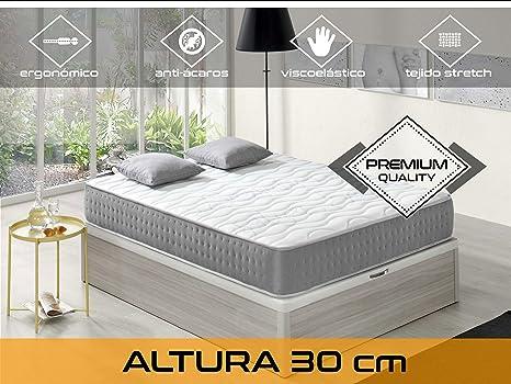 Dormi Premium Elixir 30 - Colchón Viscoelástico, 160 x 200 x 30 cm, Algodón/Poliuretano, Blanco/Gris, Matrimonio: Amazon.es: Hogar