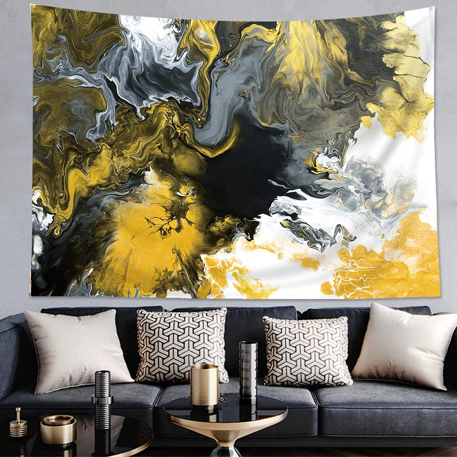 AMBZEK Black Gold Marble Tapestry 30Hx40W Inch Retro Abstract Acrylic Texture White Grey Yellow Luxurious Graphic Print Artwork Modern Fashion Poster Wall Hanging Bedroom Living Room Dorm Decor Fabric
