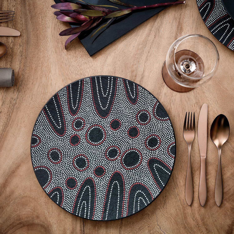 Desert 22 cm Villeroy /& Boch Manufacture Rock Piatto da Dessert Nero Porcellana Premium