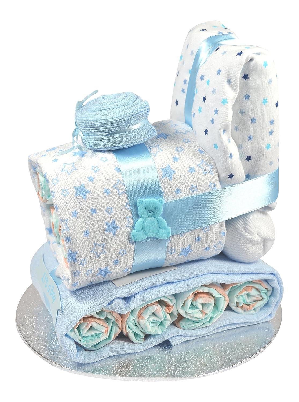 Baby Boy Train Engine Nappy Cake Blue (0-3 Months) Bizzie Bees