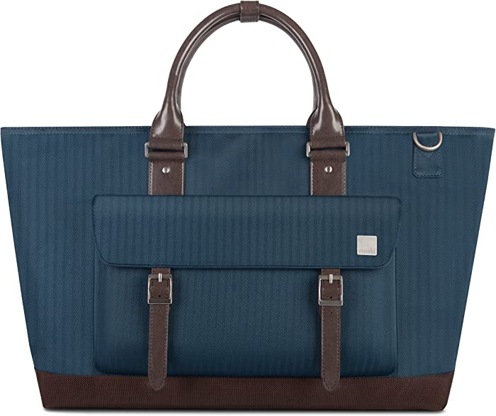 "Moshi Costa Travel Satche Crush-Resistant, for 13-15"" Laptop, ipad, Men Shoulder Strap Bag, Camera Briefcase (Bahama Blue)"