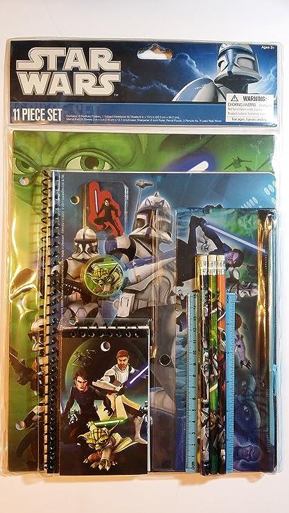 Amazon.com : Star Wars Clone Wars Yoda Anakin 11pc School ...