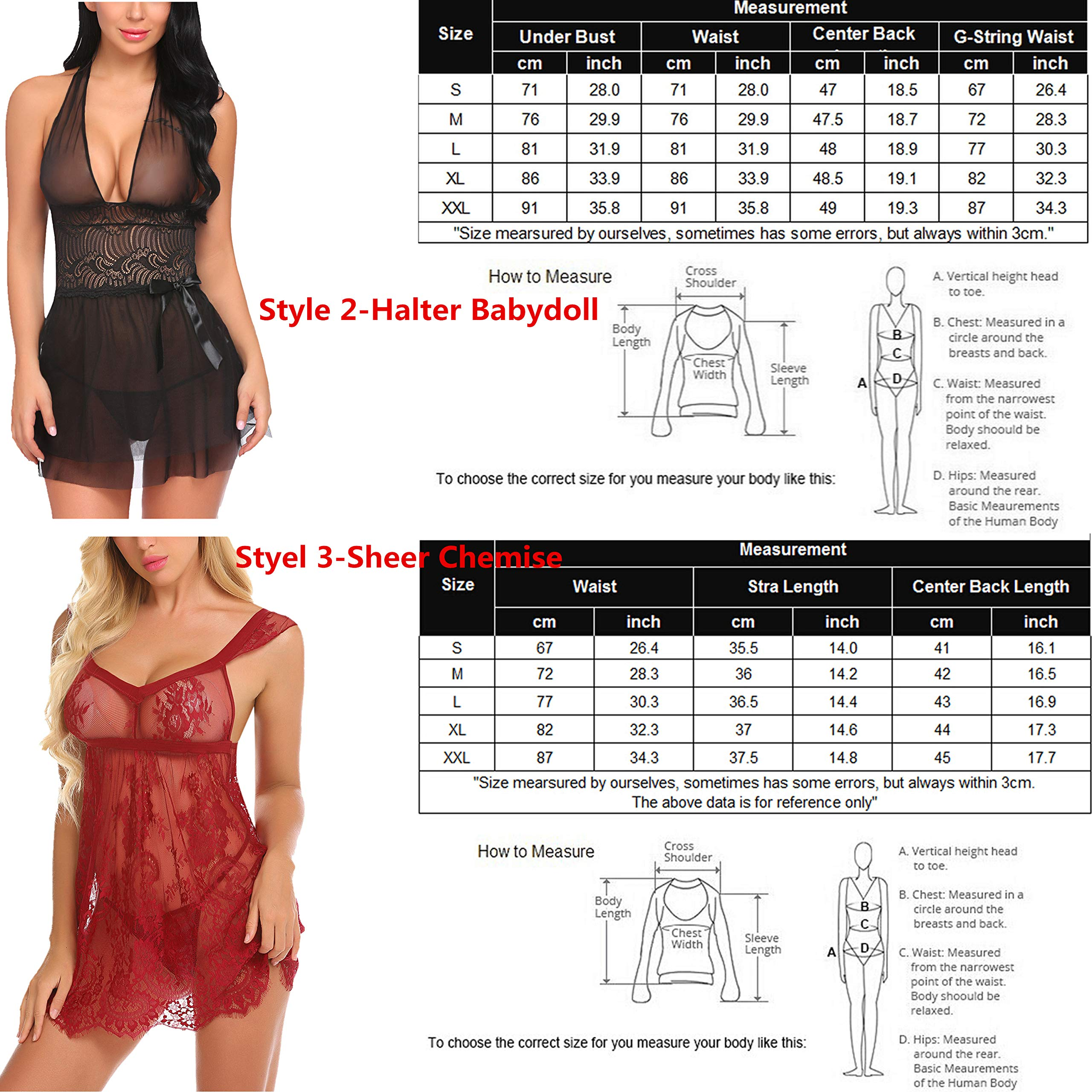 Avidlove Women V-neck Lace Babydoll Mesh Chemise Sleepwear Sexy Open Back Lingerie Black Small