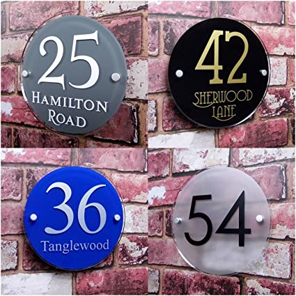 5dde6de04987 House sign Modern Number/Address Plaque Personalised House Name Plate  'Round' Glass Effect Choice of Fonts and Colours: Amazon.co.uk: Kitchen &  Home