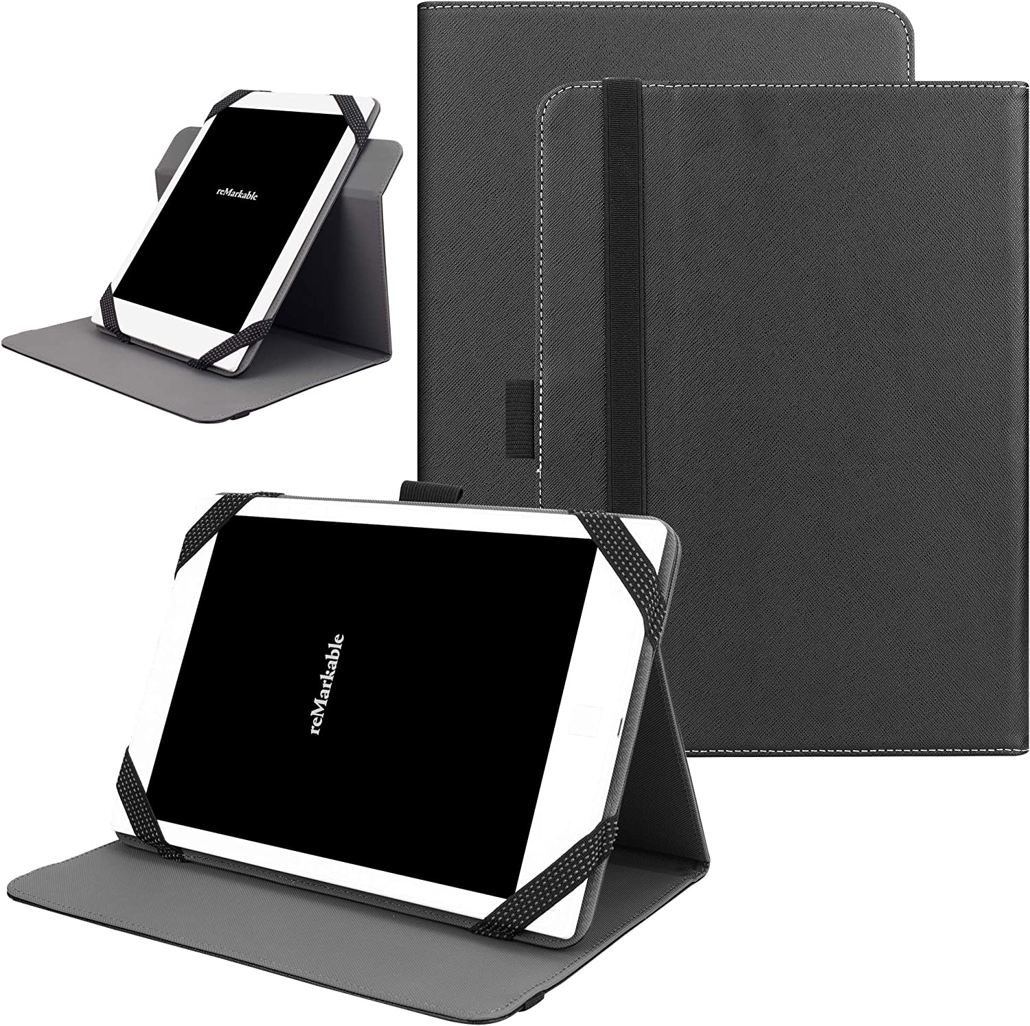 """KuRoKo Universal 360 Rotating Case for 9-10 inch Tablet, Stand Folio Universal Tablet Case Protective Cover for 9"""" 10.1"""" Tablet(Samsung Asus Acer Google Lenovo iPad etc) (Black)"""