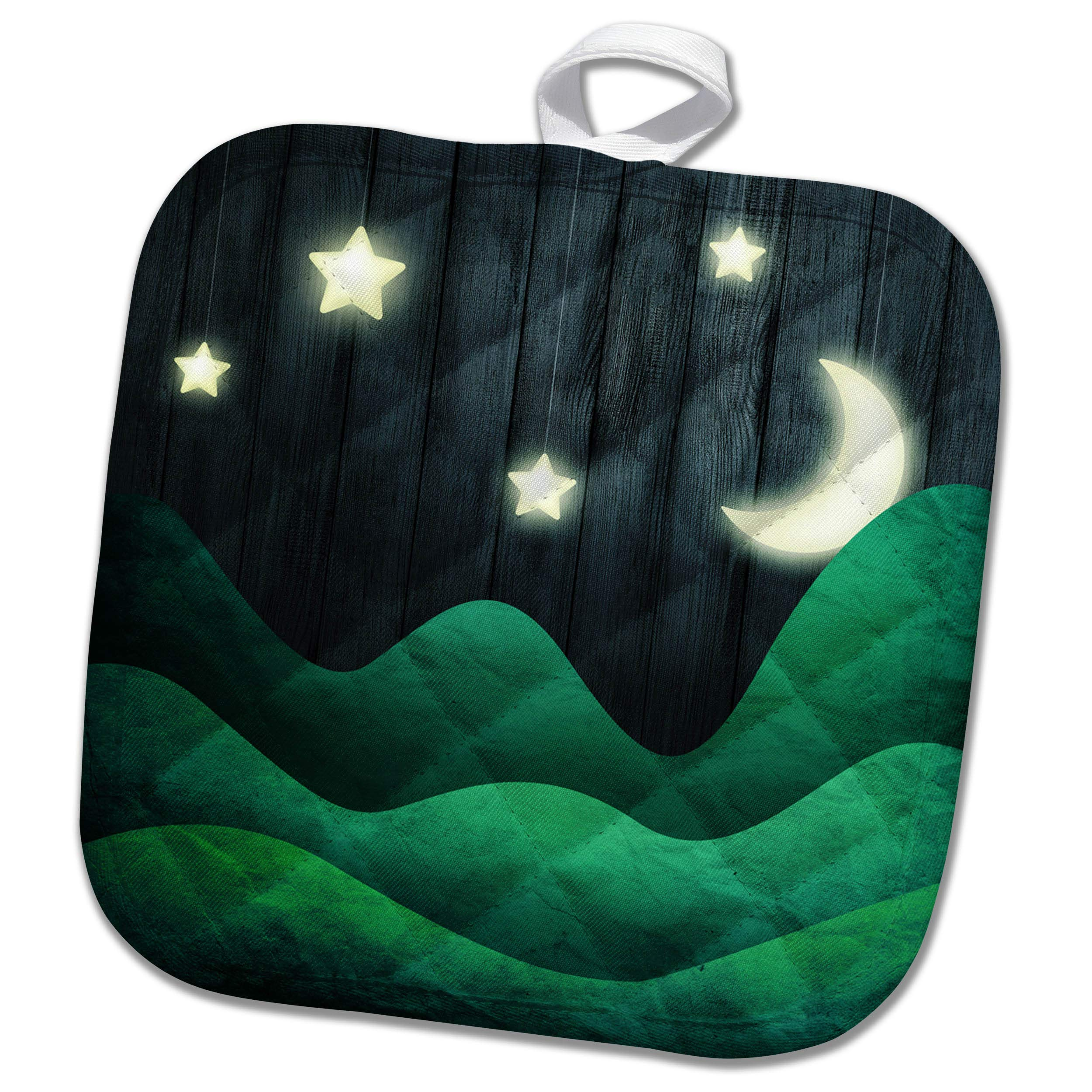 3dRose Anne Marie Baugh - Scenes - Hanging Moon and Stars Against an Image of Blue Wood Scene - 8x8 Potholder (PHL_295530_1) by 3dRose (Image #1)