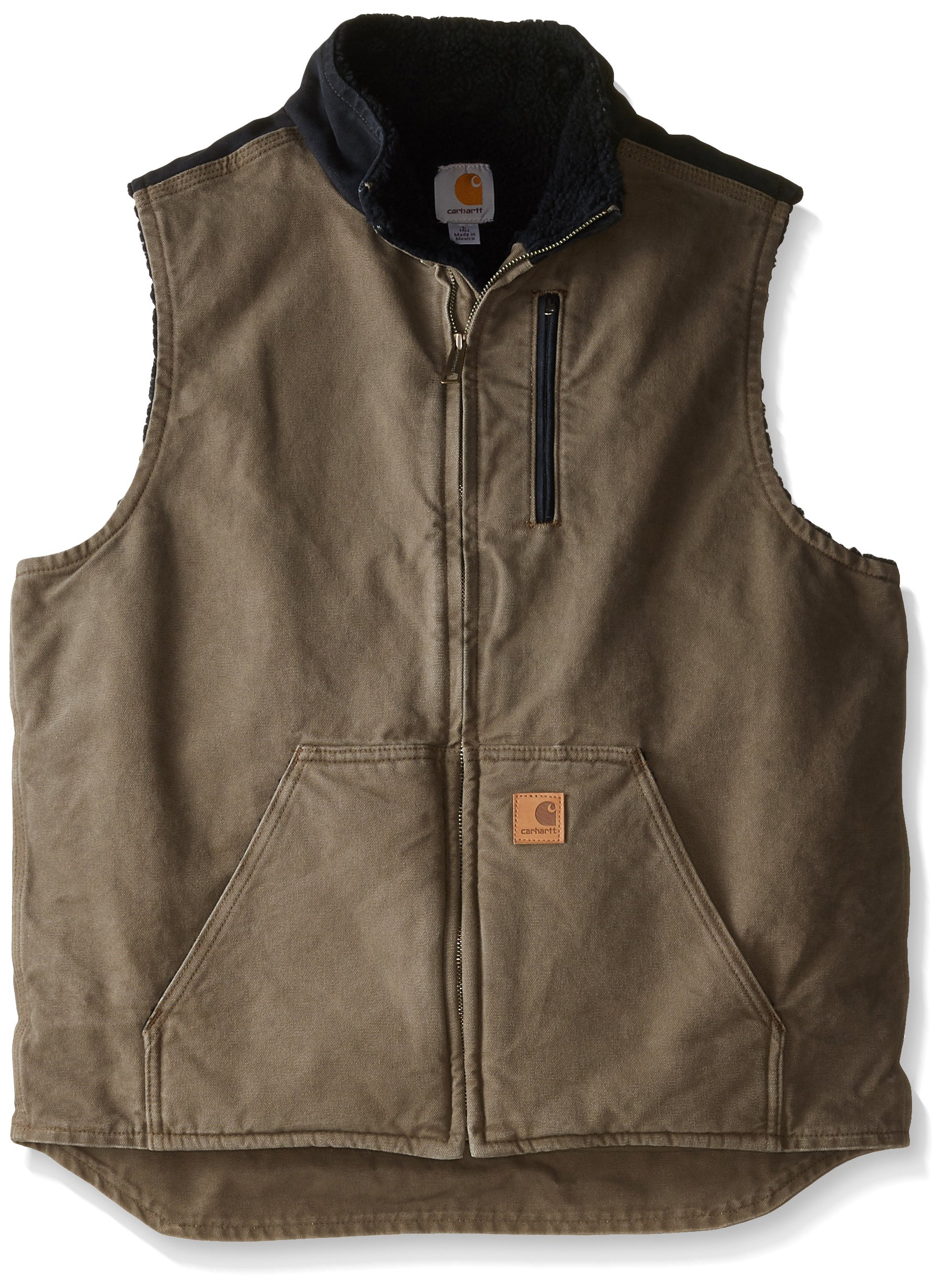 Carhartt Men's Big & Tall Sherpa Lined Sandstone Mock Neck Vest V33,Light Brown/Black,3X-Large