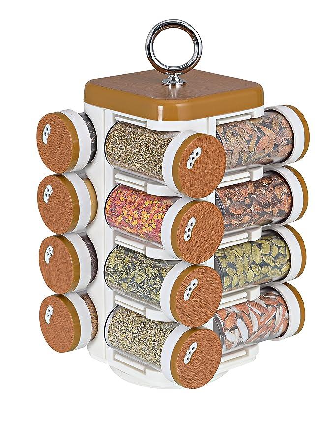 JVS Kitchen Mate 16 Jar  Wood Finish  Spice Jars