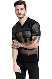 09a3bdd10ffc F plus R Mens Novelty Character T-Shirt Fashion Faux Leather Mesh Stitching  Tees