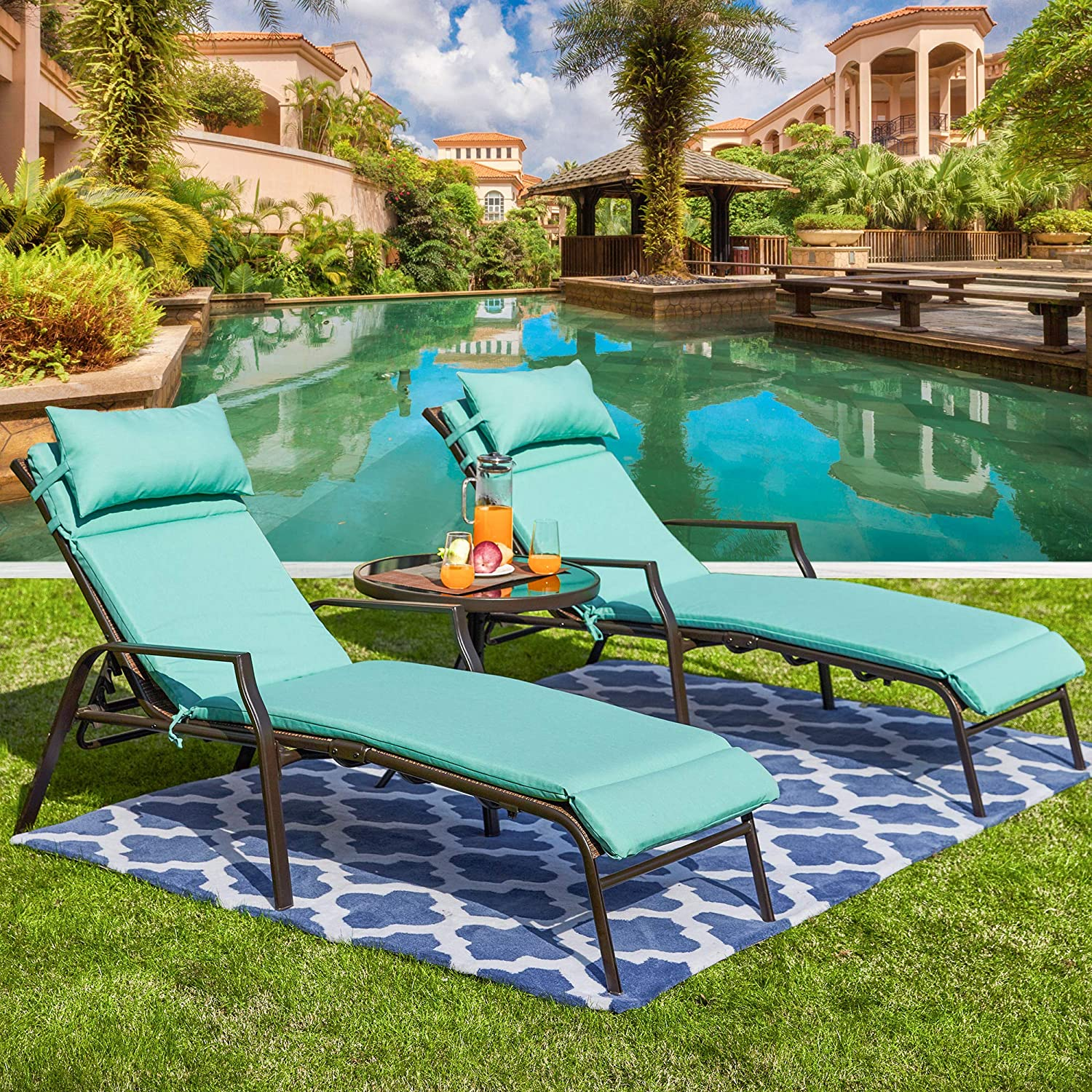 LOKATSE HOME 3 Pieces Outdoor Patio Chaise Lounge Set 2 Adjustable Chairs and 1 Bistro Table with Removable Cushions, Light Blue