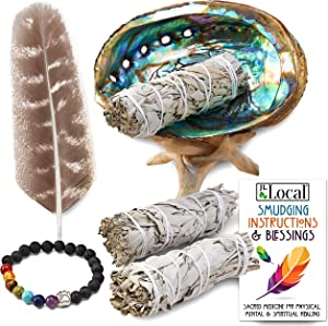 JL Local 3 White Sage Smudge Gift Kit - Abalone Shell, Feather, Stand, Instructions & More - Smudging, Cleansing, Healing & Stress Relief