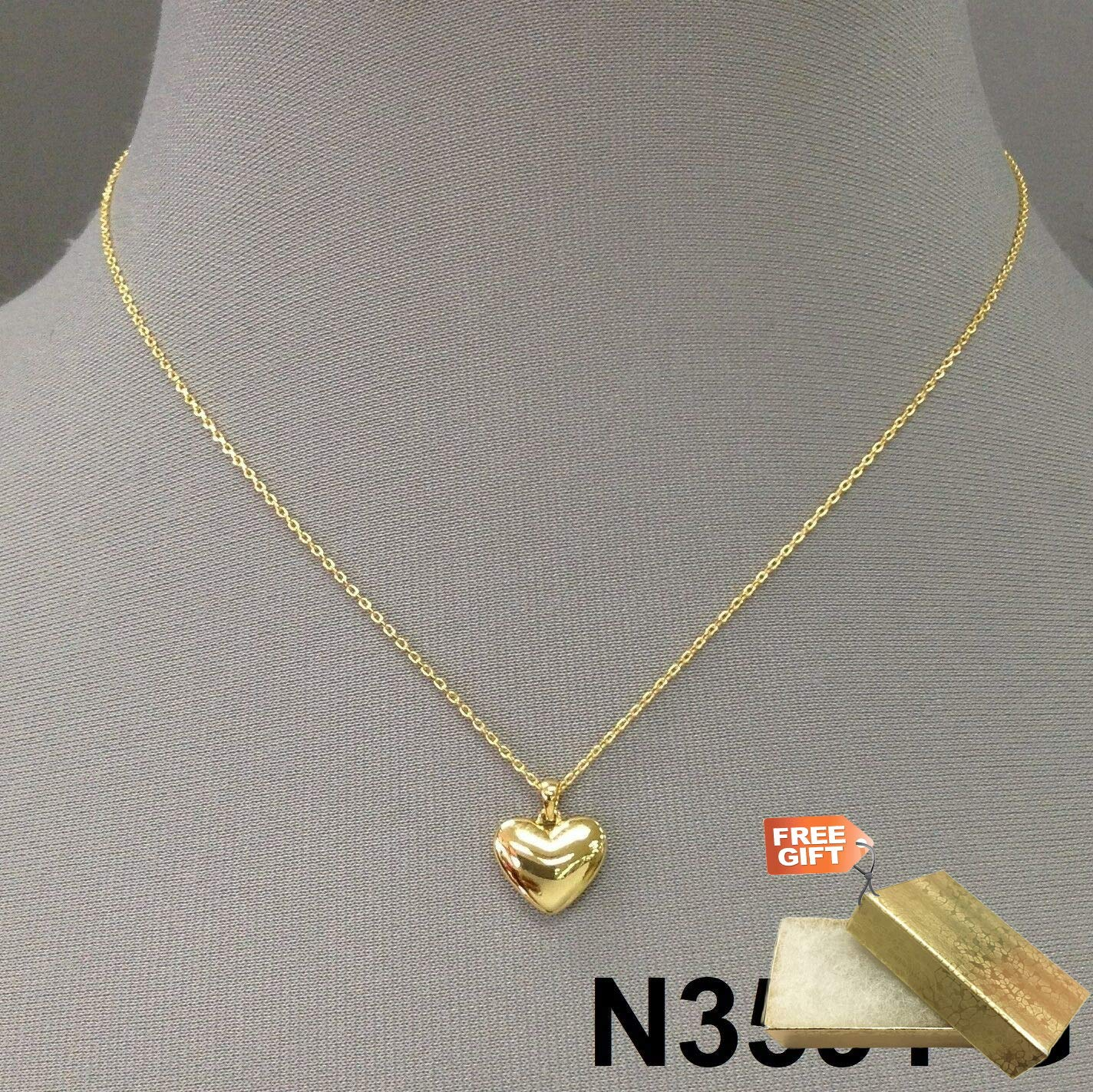 Beautiful Gold Chain Clear Rhinestone Heart Charm Pendant Necklace With Earrings