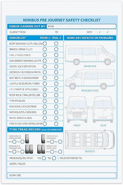 A5 Minibus defectuoso / Libro de lista de verificación, 2 partes ...