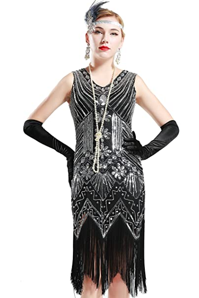 b9fa220d647bf BABEYOND Women s Flapper Dresses 1920s V Neck Beaded Fringed Great Gatsby  Dress (L