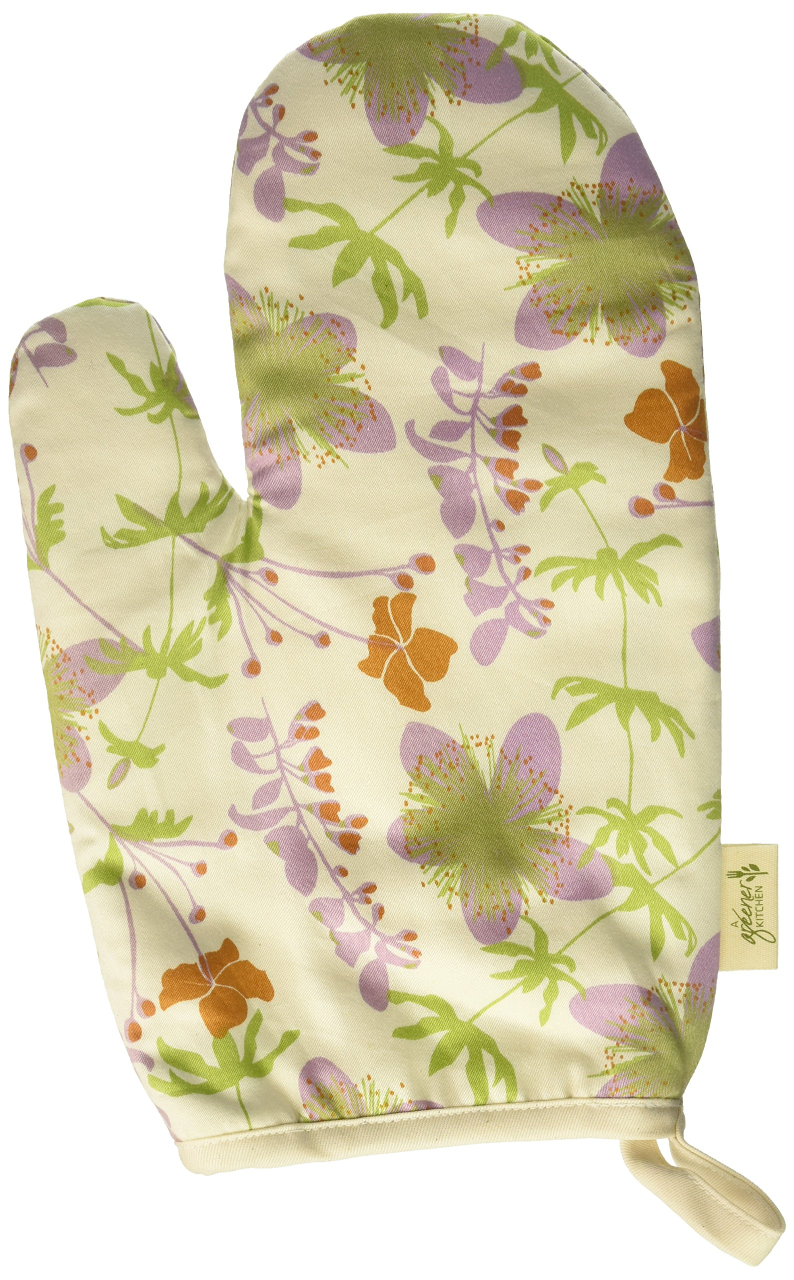 A Greener Kitchen OM002 Organic Cotton Oven Mitt - Garden-Natural by A Greener Kitchen