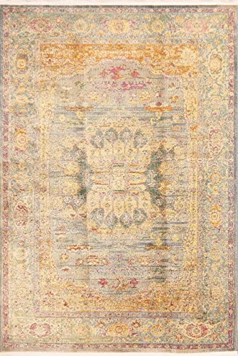 Vintage Style Traditional Floral Distressed Heat-Set Oriental Area Rugs Turkish Carpet 10 x 10 Round 10 0 x 10 0