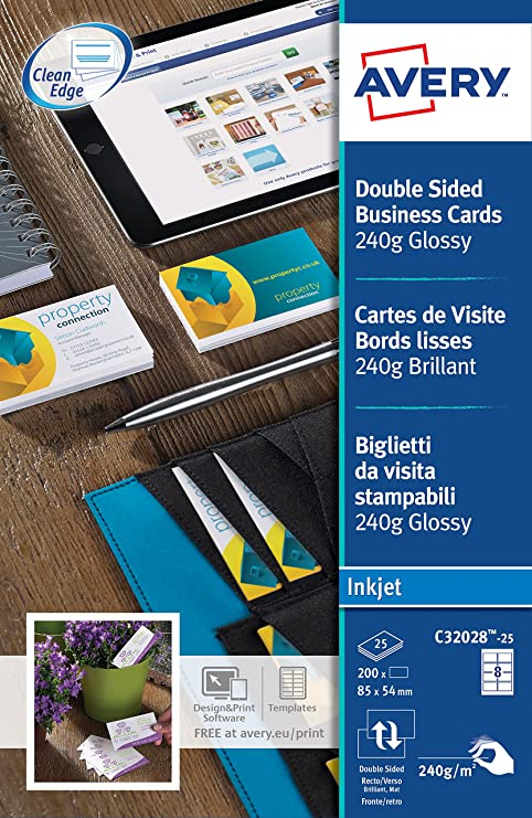 Avery c32028 25 printable double sided glossy business cards 8 avery c32028 25 printable double sided glossy business cards 8 cards per a4 sheet amazon office products reheart Image collections