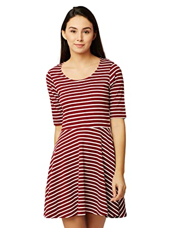 Miss Chase Women s Skater Mini Dress (MCAW17D11-02-139-02 Maroon and White X ecd244a0d0