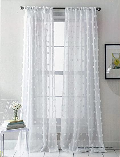 DKNY Pair Of Window Rod Pocket Panels Curtains Drapery Set 2 Solid White With Large