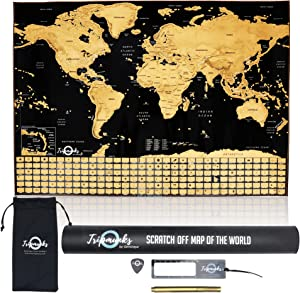 Tripmunks Scratch Off Map of World Poster with US Canada States and Country Flags, Modern Wall Decor with Glossy Finish Easy to Write On and Erase, Great for Travel Planning, 24x17 Inch