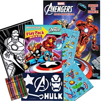 marvel avengers coloring book and avengers play set with stickers crayons poster and stencil - Avengers Coloring Book