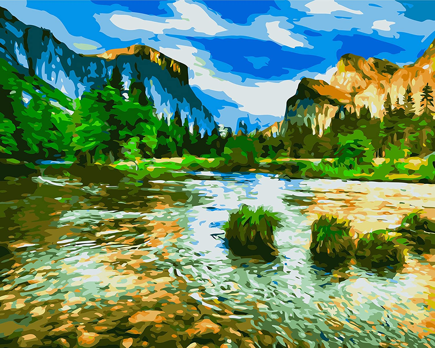 Paint by Numbers for Adults, Yosemite Half Dome and River, Framed, 16X20 inches