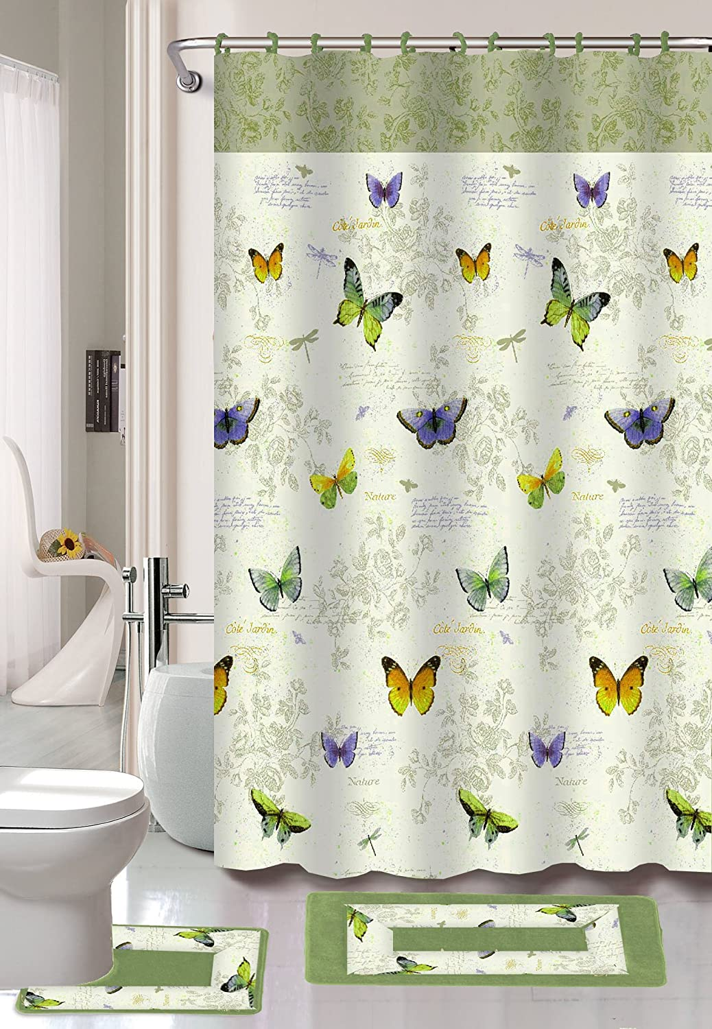 Kashi Home Maria 15pc Butterfly Printed Bathroom Accessory Shower Curtain & Rugs Set