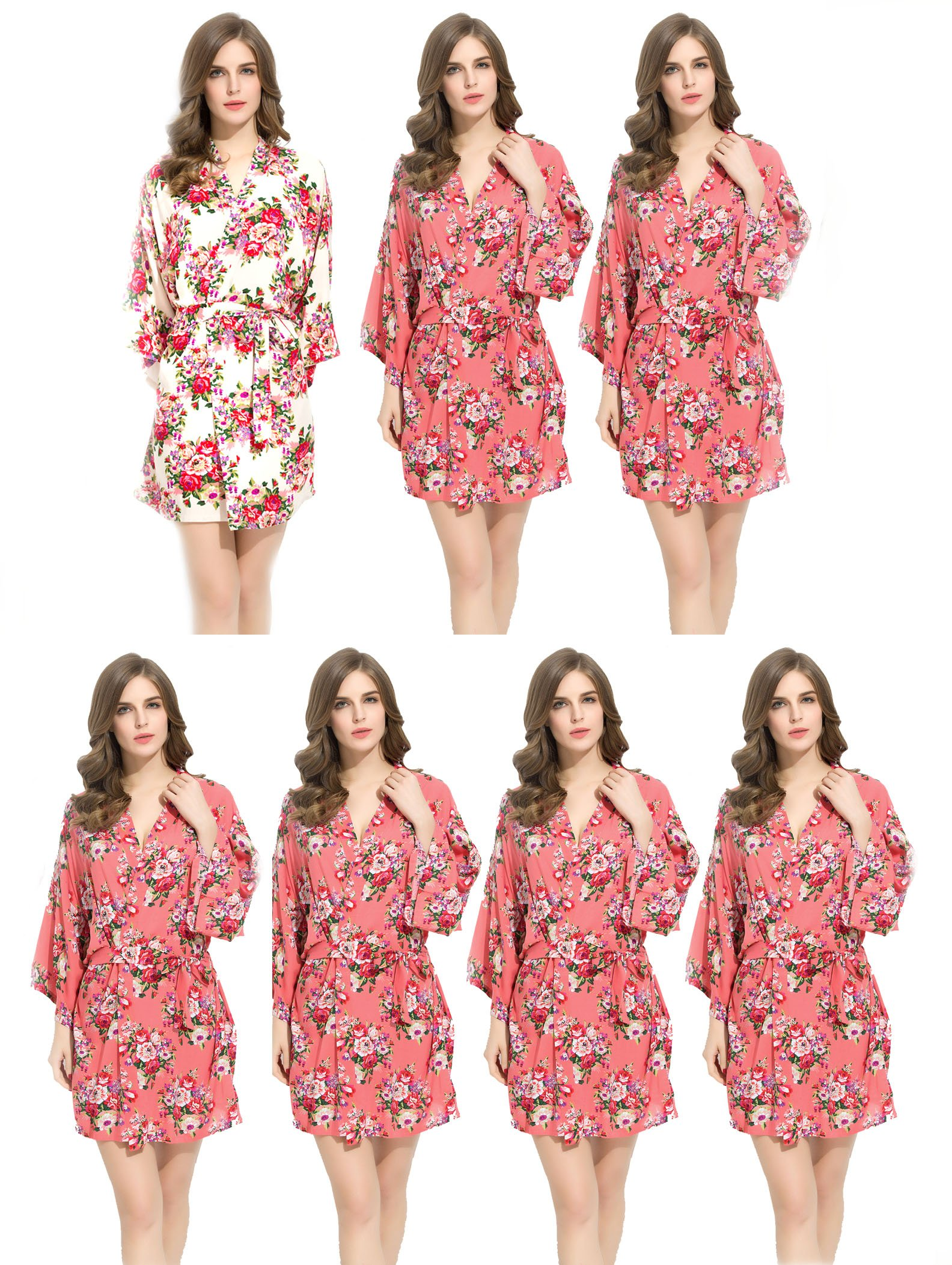 Endless Envy Floral Cotton Bridesmaids Robes 6 Coral & 1 White Wedding Bride