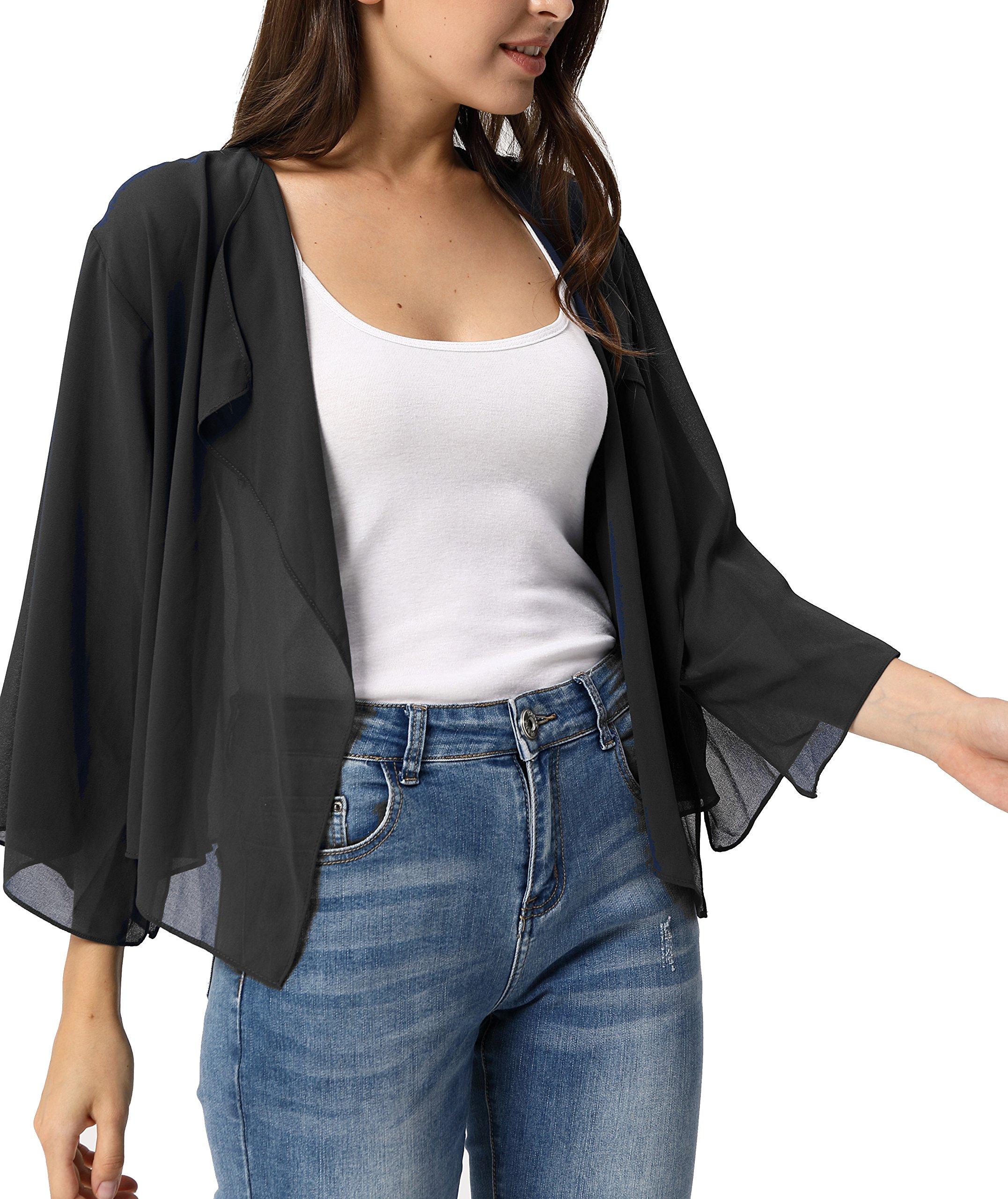 Kate Kasin Shrug Drape Open Front 3/4 Sleeve Bolero Cardigan KK913