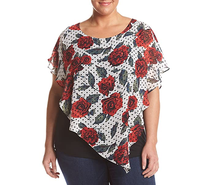 AGB Plus Size Layered Printed Top