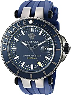 Versace Mens V-Race Diver Swiss Quartz Stainless Steel and Silicone Casual Watch