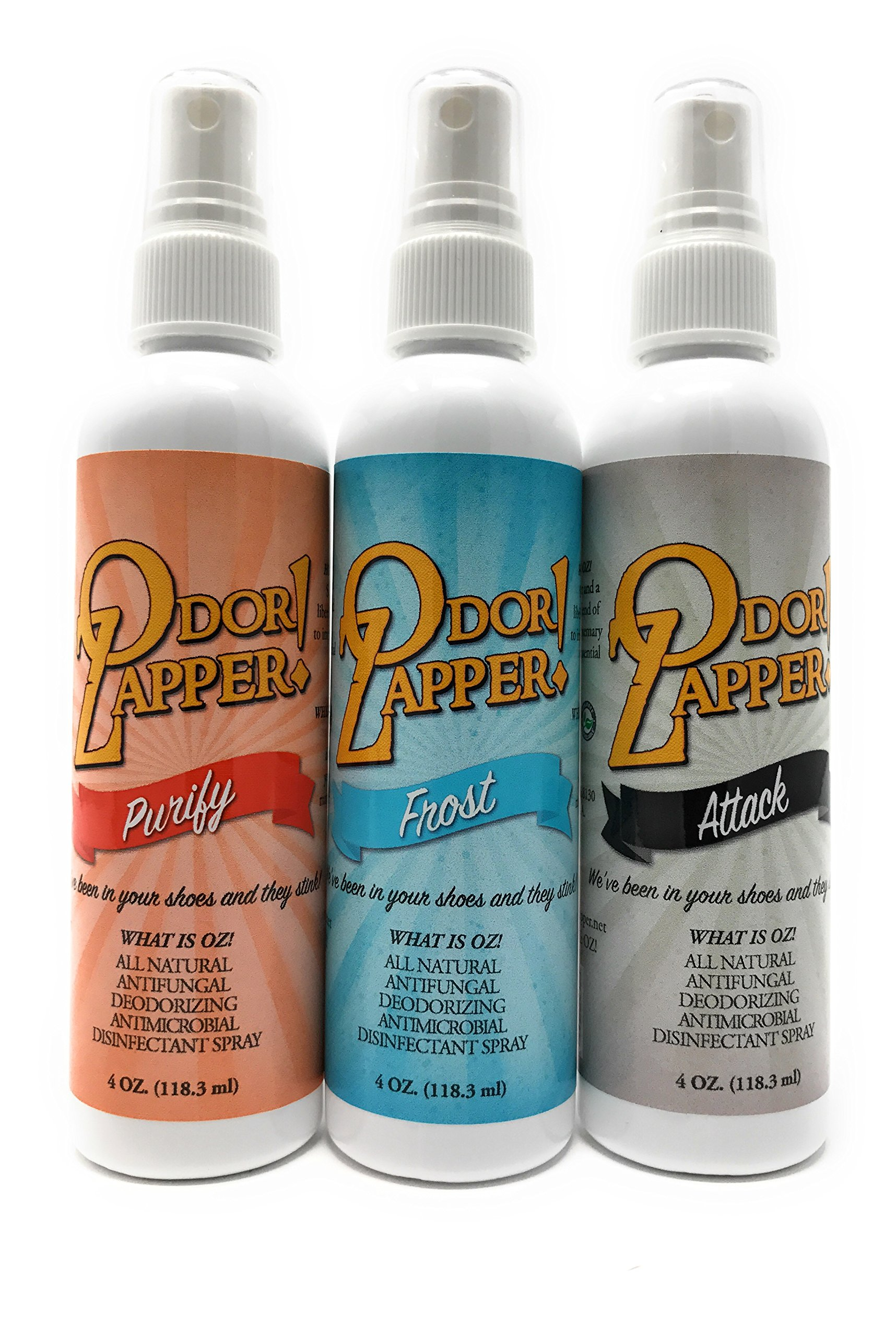 Odor Zapper Disinfectant Spray - For use in Shoes, Gym Bags, Yoga Mats, Kid's Cars and More! ''Power Pack'' 3 Pack, 4oz bottles