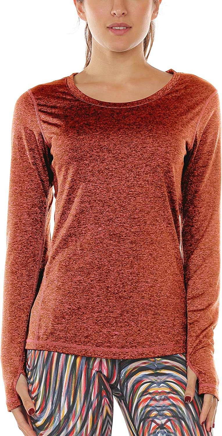 icyzone Womens Workout Yoga Long Sleeve T-Shirts with Thumb Holes