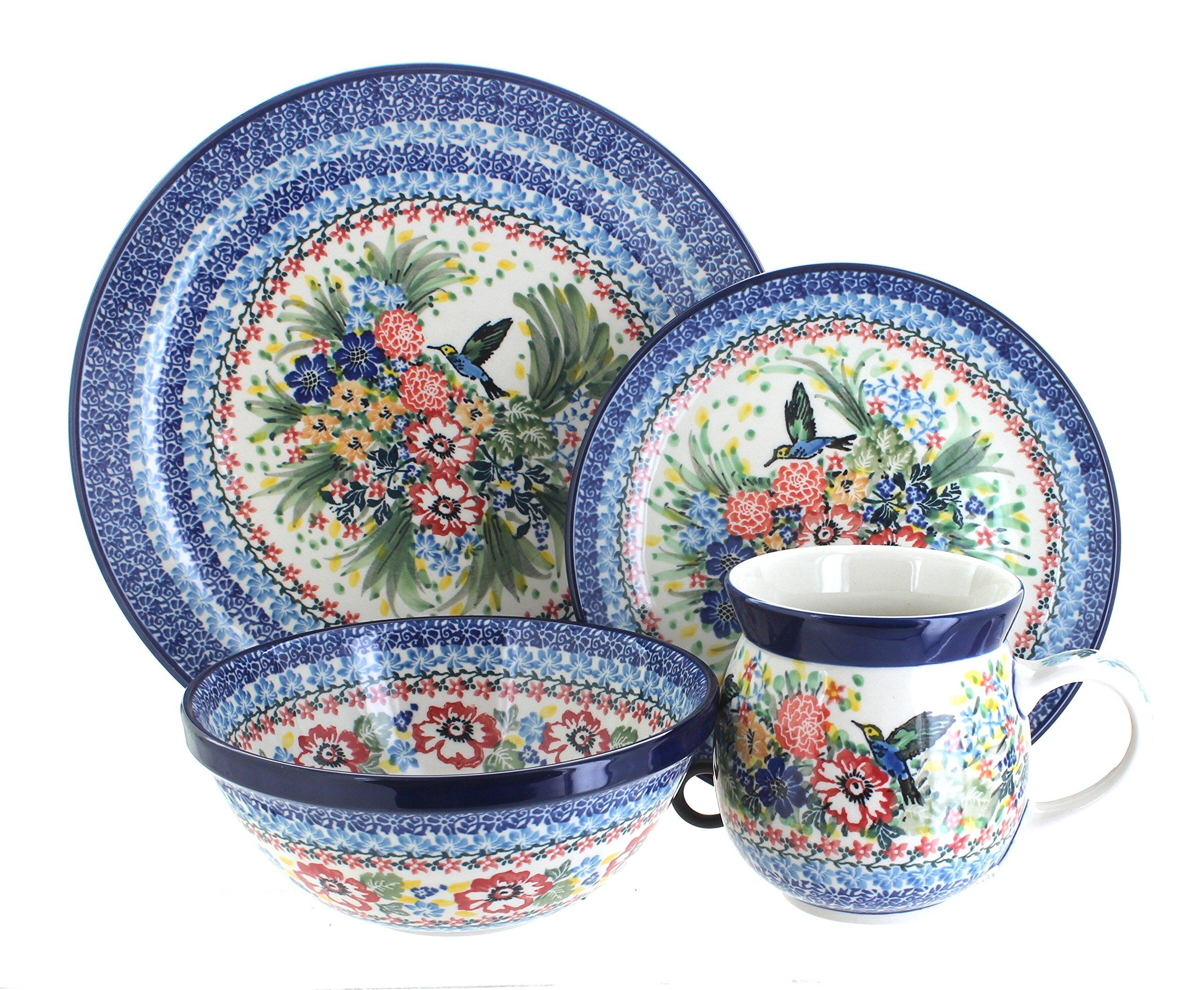 Blue Rose Polish Pottery Hummingbird 4 Piece Place Setting
