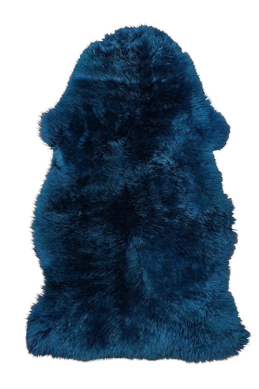 HomeStylist Lammfell Blau l Island-Lammfell Fellteppich l Navy Blau l 90-100cm l Langwollig - Lammfell Teppich für Schlafzimmer und Wohnzimmer - Baby Lammfell l Baby Lammfell Kinderwagen