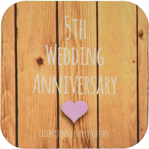 Amazon Com 3drose Llc Cst 154433 1 Soft Coasters 5th Wedding Anniversary Gift Wood Celebrating 5 Years Together Fifth Anniversaries Five Years Set Of 4 Home Kitchen