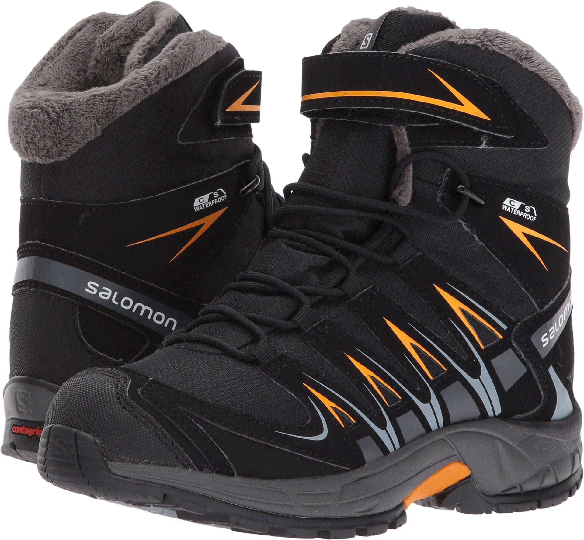Salomon Kid's XA Pro 3D Winter TS CSWP Snow Boots, Black, Textile, Faux Fur, Rubber, 2 Little Kid M
