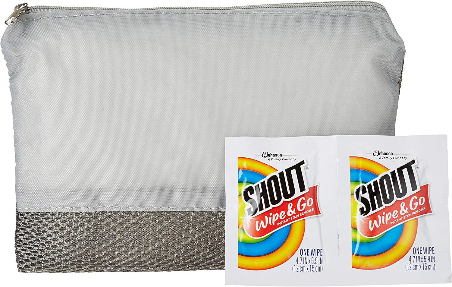 SC Johnson Professional Shout Wipes Instant Stain Remover Portable Packets + EverydayEssentials Reusable Travel Pouch Bundle - Advanced Stain Remover For Clothes, Car, Laundry, Leather & Carpet