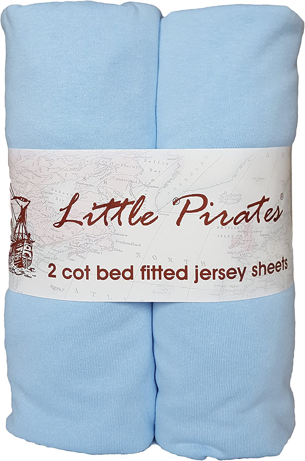 2X FYLO Cot Bed 100/% Cotton Jersey Fitted Sheets 140 x 70 cm Grey Cloud