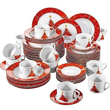 VEWEET, Serie Christmastree, 60 Teilig Set Tafelservice, Geschirr Set Für  12 Personen
