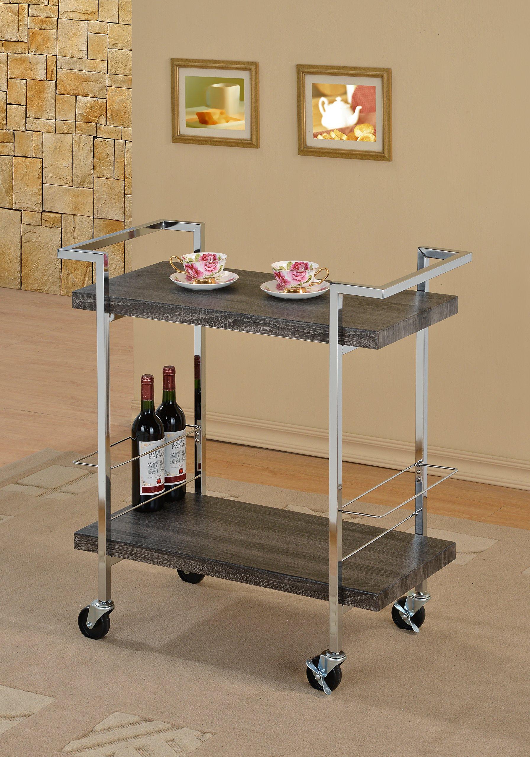 Weathered Grey Wood Look Chrome Metal Bar Tea Wine Holder Serving Cart
