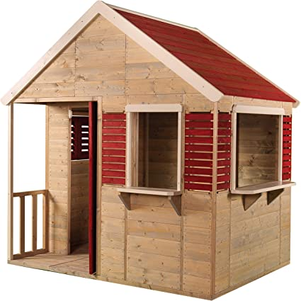 Casa infantil de madera roja para exterior