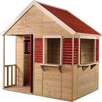 Wendi Toys M12 Summer Villa | Casa infantil de madera roja para exterior | Casa de juegos de jardín de verano para la actividad: Amazon.es: Juguetes y juegos