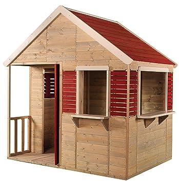 Wendi Toys M12 Summer Villa | Casa infantil de madera roja ...
