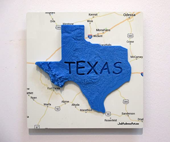 Amazoncom D Texas Elevation Map Over West Texas X Metal - Texas elevation map