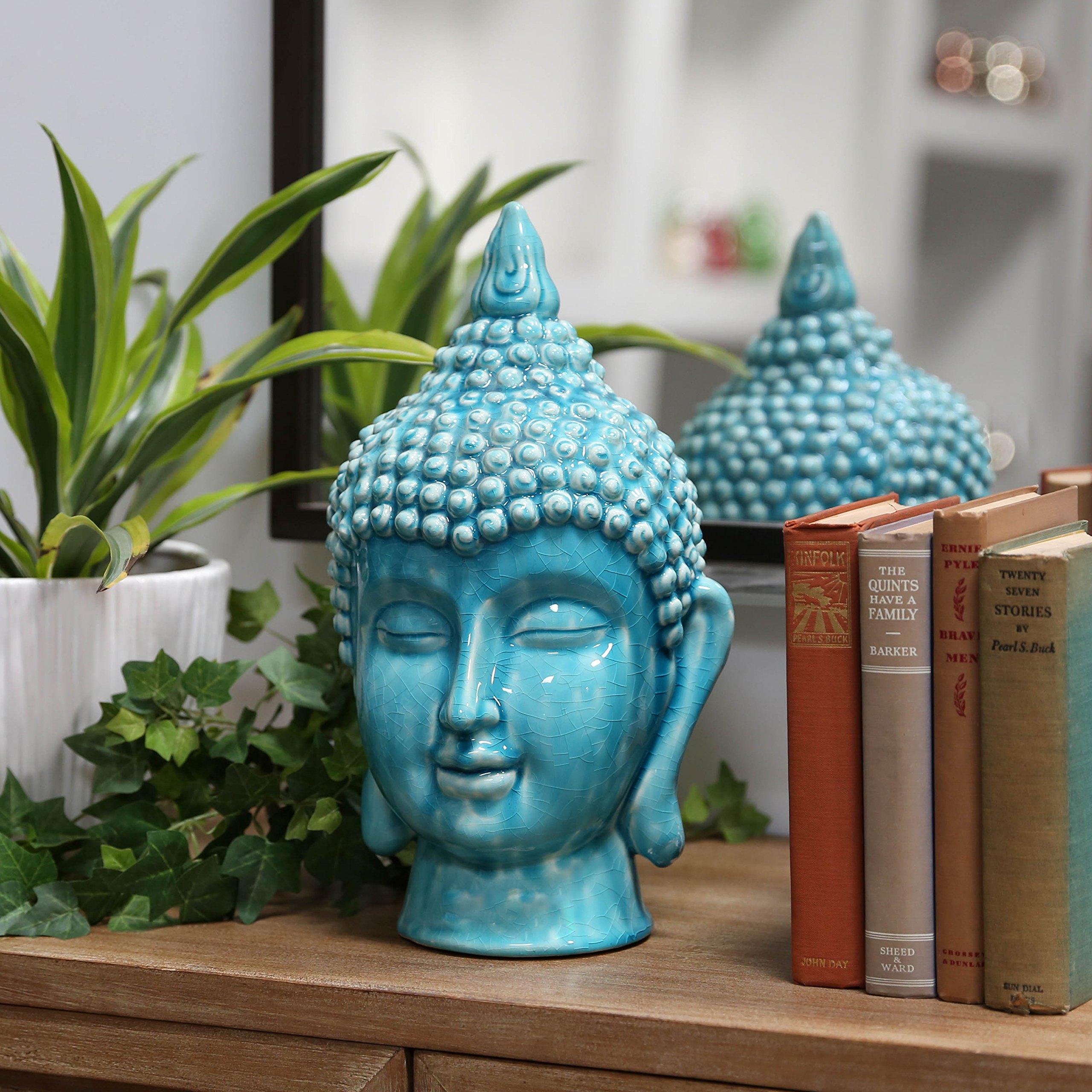 Ceramic Buddha head with Pointed Ushnisha Gloss Finish TURQUOISE