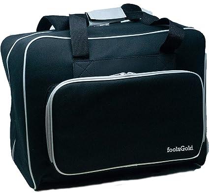 foolsGold Bolsa Acolchada para Transportar la Máquina de Coser (Negro/Gris)