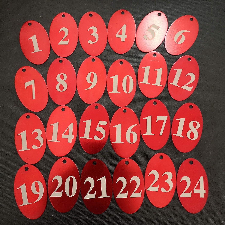 Aluminiumlegierung 1-25 rot Sourcemall Zahlenanh/änger mit Schl/üsselring