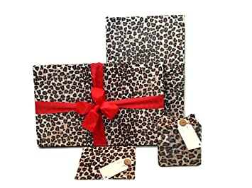 Gift Wrap Pack - Stretchy Fabric, Reusable and Eco Friendly - Leopard Animal Print (